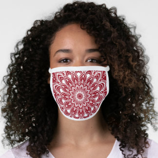 Trendy White and Red Mandala Design Face Mask