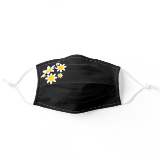 Trendy White & Yellow Spring Daisies, Floral Adult Cloth Face Mask