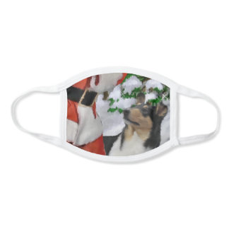 Tri Smooth Collie Christmas Face Mask