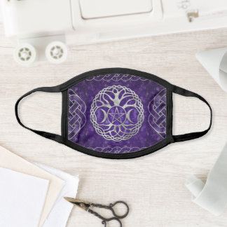 Triple Goddess with pentagram and tree of life Face Mask