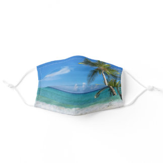 Tropical Beach and Palm Trees Beachy Adult Cloth Face Mask