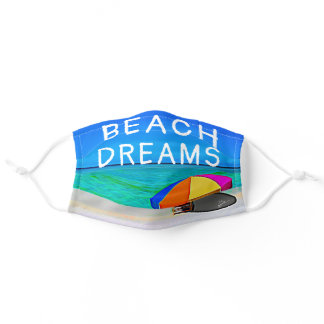 Tropical Beach Dreams Colorful Umbrella Adult Cloth Face Mask