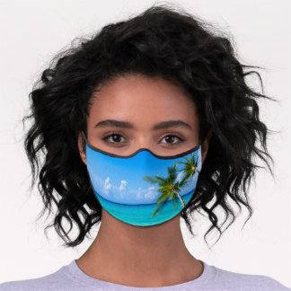 Tropical Beach Scene and Palm Trees Premium Face Mask