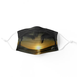 Tropical Beach Sunset and Palm Trees Beachy Adult Cloth Face Mask