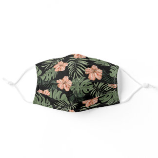 Tropical Coral Peach Hibiscus Flower Pattern Adult Cloth Face Mask