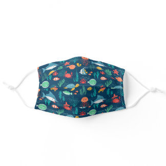 Tropical fish background design adult cloth face mask