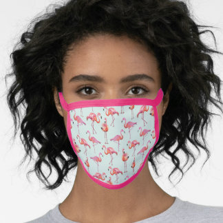 Tropical Flamingo turquoise & pink birds pattern Face Mask