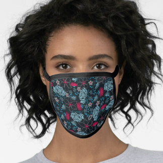 Tropical green printed embroidery floral face mask