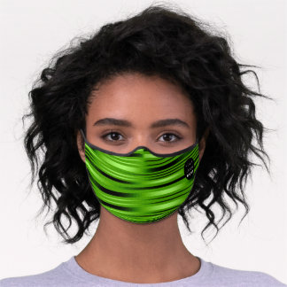 Tropical Green Stripes Lines Modern Elegant Office Premium Face Mask