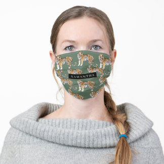 Tropical Green Watercolor Tigers Pattern With Name Adult Cloth Face Mask