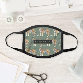 Tropical Green Watercolor Tigers Pattern With Name Face Mask