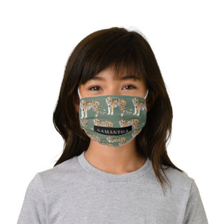 Tropical Green Watercolor Tigers Pattern With Name Kids' Cloth Face Mask