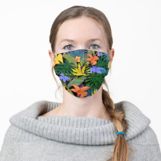Tropical Hawaii Flower Graphic Art Design Adult Cloth Face Mask