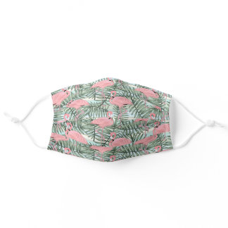 Tropical Hawaiian Pink Flamingoes Palm Tree Leaves Adult Cloth Face Mask