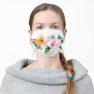 Tropical Hibiscus and Foliage Adult Cloth Face Mask
