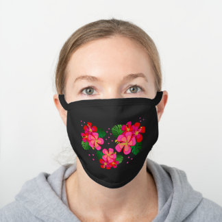 Tropical Hibiscus Flowers Jungle Leaves Pink Dots Black Cotton Face Mask