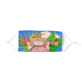Tropical kiss Watercolor blondie girl in Paradise Adult Cloth Face Mask