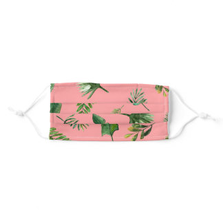 Tropical leaves Cloth Face Mask with Filter Slot