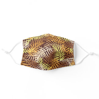 Tropical Leaves Palm Tree Fern Leaf Pattern Brown Adult Cloth Face Mask