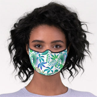 Tropical leaves pattern premium face mask
