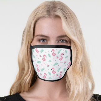 Tropical Leaves, Pink Flamingo Pattern Face Mask