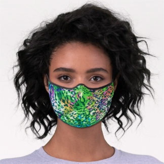 tropical Leopard and Flowers Pattern on Green Premium Face Mask