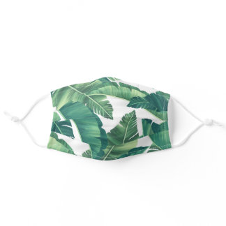 Tropical Monstera and Palm Leaves Adult Cloth Face Mask