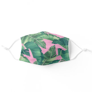 Tropical Monstera and Palm Leaves Pink Adult Cloth Face Mask