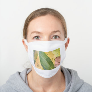 TROPICAL MULTI-COLOURED LEAVES  WHITE COTTON FACE MASK