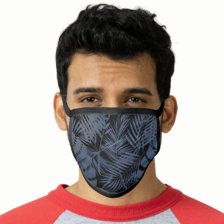 Tropical navy blue palm leaf pattern, chic modern face mask