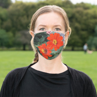 tropical orange and yellow flowers  adult cloth face mask