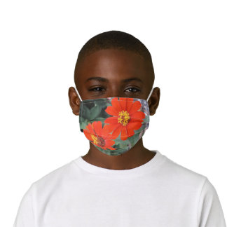 tropical orange and yellow flowers  kids' cloth face mask