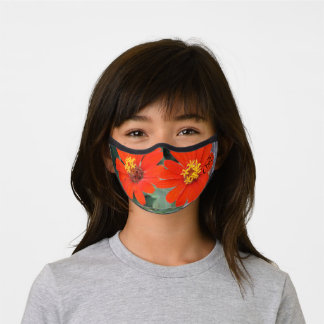 tropical orange and yellow flowers  premium face mask