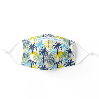 Tropical Palm Trees Personalized Custom Text Adult Cloth Face Mask