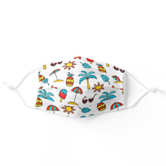 Tropical pattern, whimsical and fun adult cloth face mask