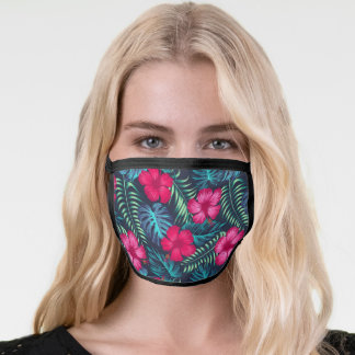Tropical Pink And Green Floral Hibiscus Flowers Face Mask