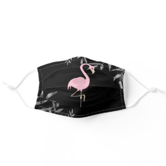Tropical Pink Flamingo on Black Beach Adult Cloth Face Mask