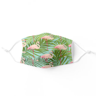 Tropical Pink Flamingos and Palm Leaves Pattern Adult Cloth Face Mask
