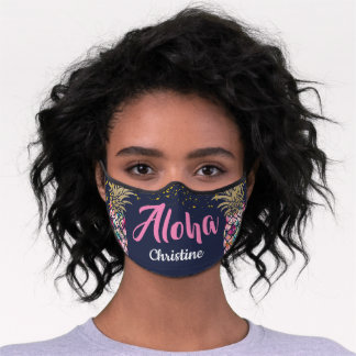 Tropical Pink Gold Pineapple Navy Blue Premium Face Mask