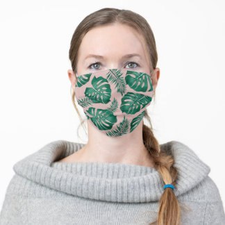 Tropical Pink & Green Palm Leaves Seamless Pattern Adult Cloth Face Mask