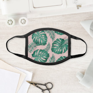 Tropical Pink & Green Palm Leaves Seamless Pattern Face Mask