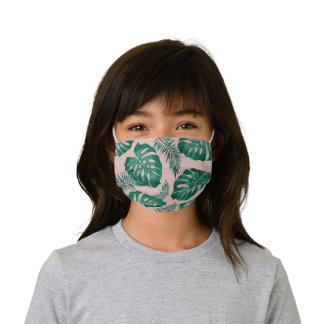 Tropical Pink & Green Palm Leaves Seamless Pattern Kids' Cloth Face Mask
