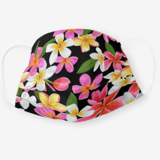 Tropical Pink White Yellow Plumeria Flowers Cloth Face Mask