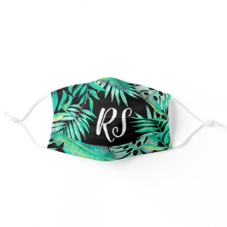 Tropical plants green black chic pattern initials adult cloth face mask