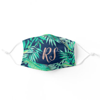 Tropical plants navy rose gold pattern initials adult cloth face mask