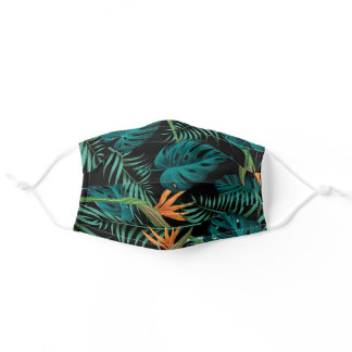 Tropical Plants Pattern Adult Cloth Face Mask