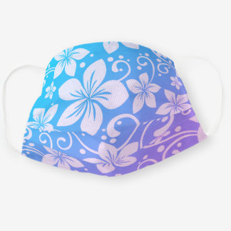 Tropical Plumeria Flowers Turquoise to Purple Cloth Face Mask