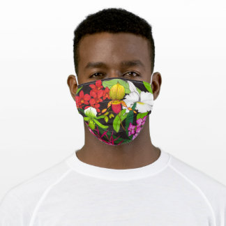 Tropical Slipper Orchid Garden Floral Art Adult Cloth Face Mask