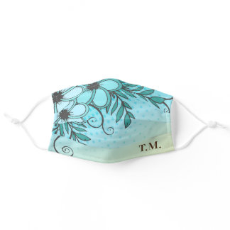 Tropical Teal and Brown Monogram Adult Cloth Face Mask