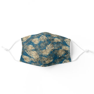Tropical Teal Blue Taupe Brown Palmtree Leafs Adult Cloth Face Mask